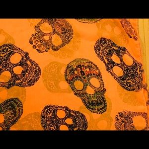 Accessories - Sugar skull scarf in orange infinity scarf 18""